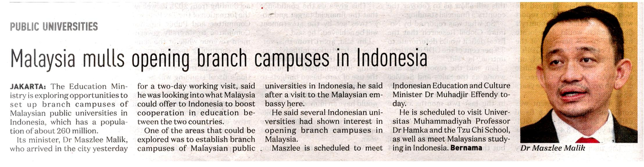 NST Malaysia mulls opening branch campuses in Indonesia