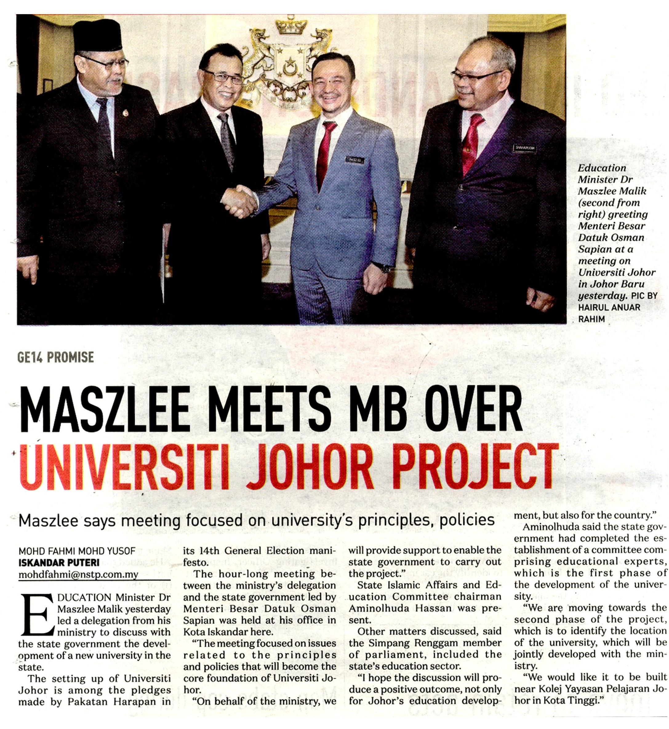 NST Maszlee meets MB over Universiti Johor project