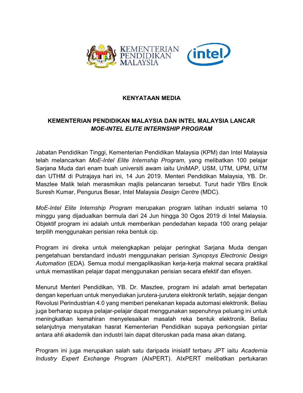 KENYATAAN MEDIA KPM MOE INTEL ELITE INTERNSHIP PROGRAM 14JUN20191