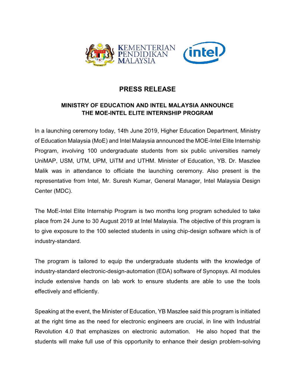 Press Release MOE INTEL LATEST 14 JUNE 20191