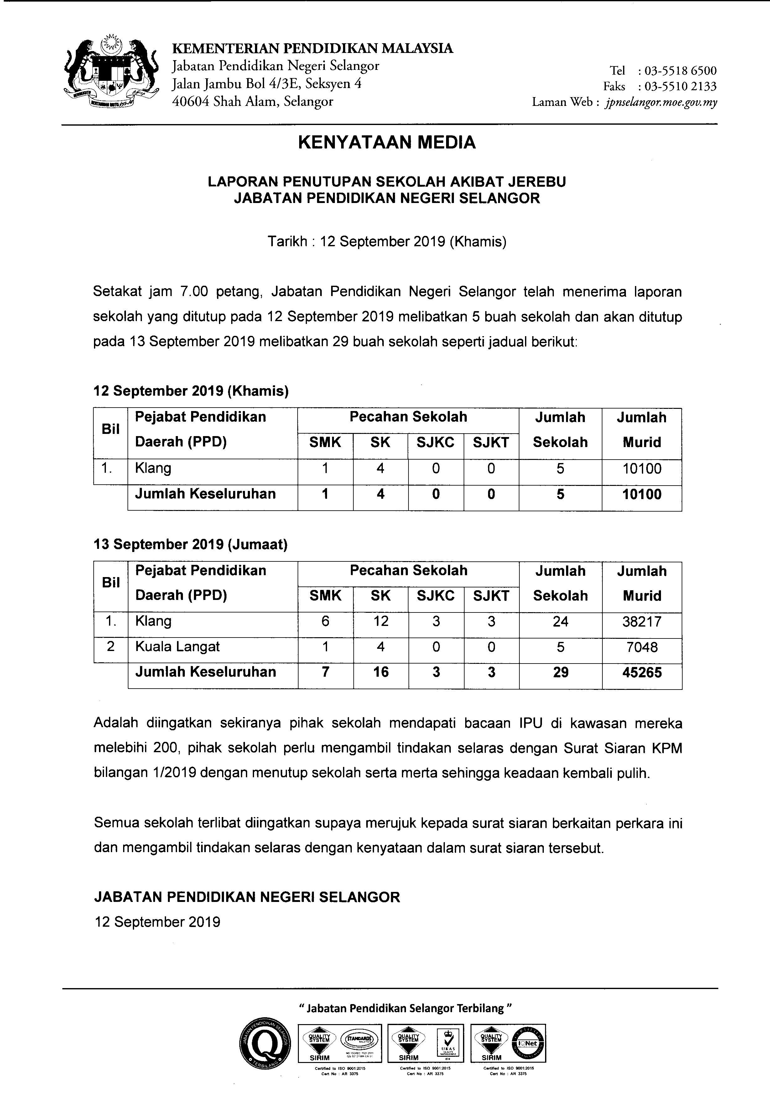 Kpm Kenyataan Media Laporan Penutupan Sekolah Akibat Jerebu Jabatan Pendidikan Negeri Selangor
