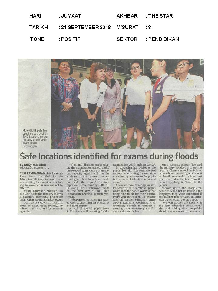 Safe Locations Identified For Exams During Floods   The Star 21 September 2018