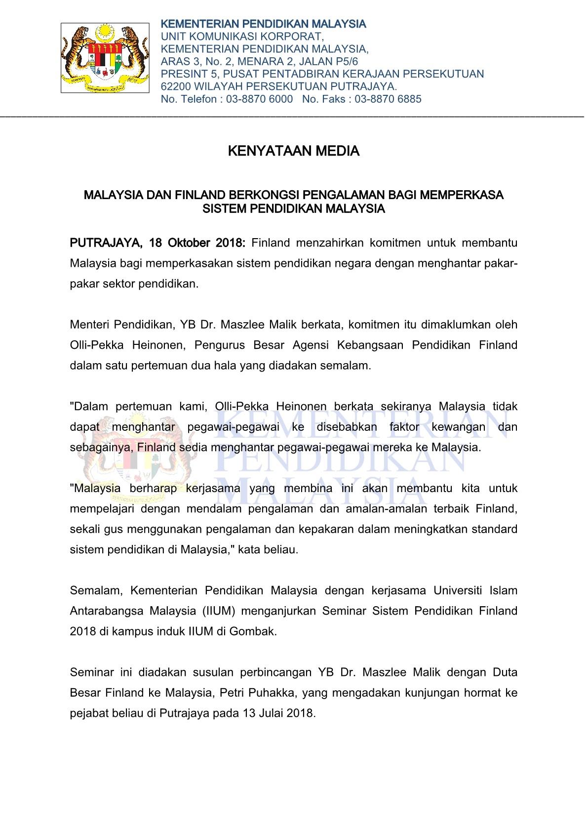Kpm Kenyataan Media Malaysia Dan Finland Berkongsi Pengalaman Bagi Memperkasa Sistem Pendidikan Malaysia