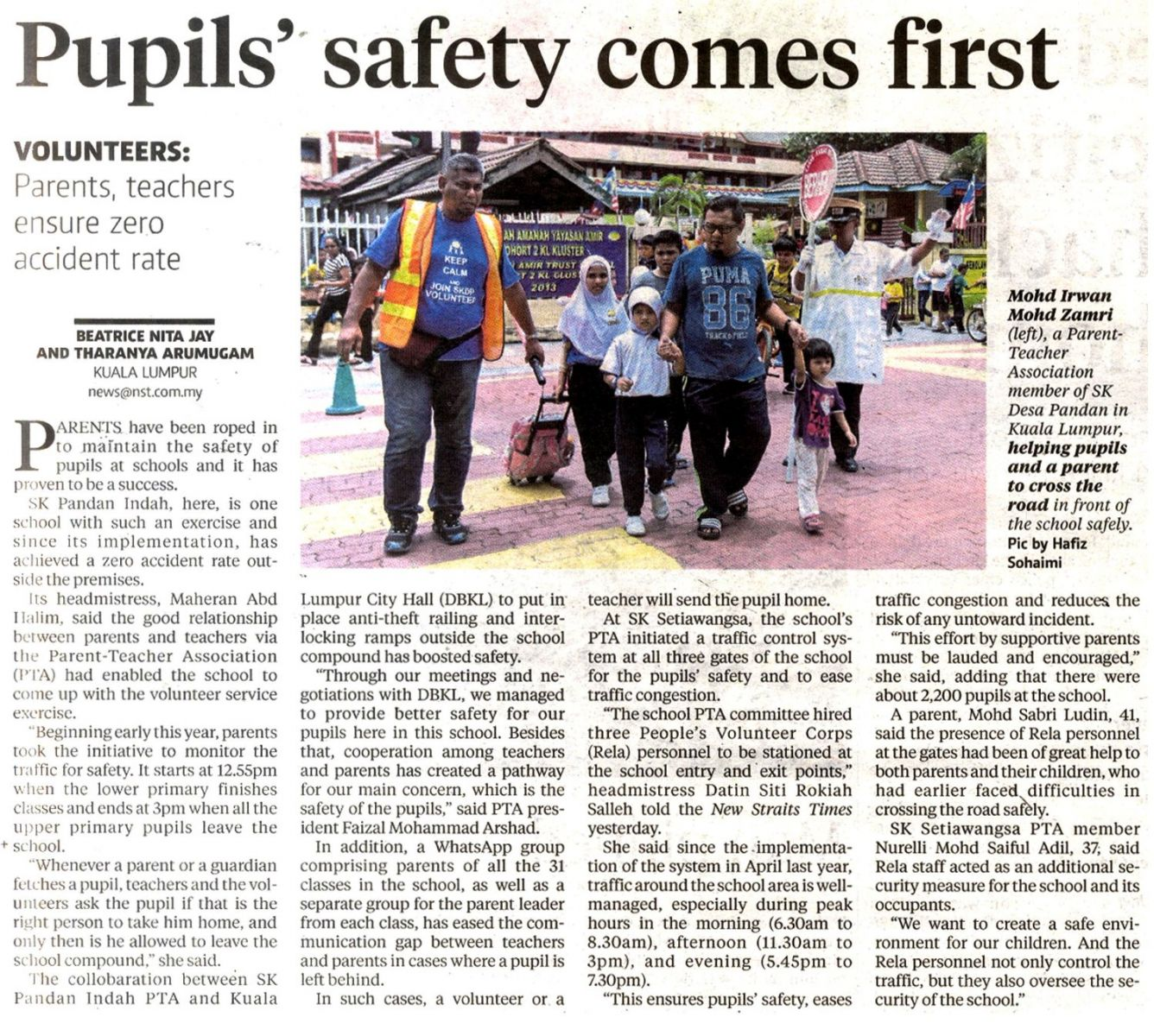Pupils' safety comes first   New Straits Times, 29 September 2016